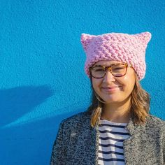 3fe219d949a Crocheted Pussy Cat Hat in Pink by theseamdesigns on Etsy Pink Cat Hat