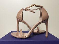 Stuart Weitzman Nudist song Adobe Aniline Tan Patent Leather Heels Sandals 8 M #StuartWeitzman #FashionHeelsSandalsAnkleStrap