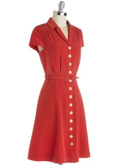 Taos Tour Dress. Take in the history, art, and architecture of Taos in this cinnamon-red shirtdress from Myrtlewood. #red #modcloth