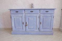 CREDENZA PROVENZALE SHABBY: credenza 3 ante/3 cassetti - laccatura shabby/lavato classico lavanda provenzale