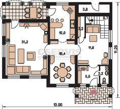 Projekt rodinného domu Comfort 124 - půdorys přízemí
