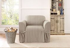 Sure Fit Slipcovers Grain Sack Stripe One Piece Slipcovers - Chair