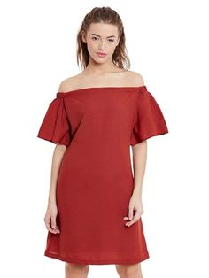 Miss Chase Women's Brick Red Mini Bardot Half Sleeves Solid Dress Womens Western Wear Dresses, Strapless Mini Dress, Valentine Special, India Fashion, Buy Dress, Half Sleeves, Dresses Online, Clothes For Women, Clothing Accessories
