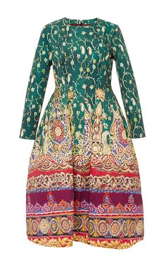 Cotton Printed Long Sleeved Elgin Dress by Stella Jean Now Available on Moda Operandi
