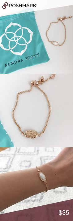 Kendra Scott Elaina Rose Gold Bracelet Kendra Scott Elaina Rose Gold bracelet in white pearl. Sliding closure for the perfect fit. •No trades. •No paypal. •Instagram: CitrusandLavenderLane Kendra Scott Jewelry Bracelets