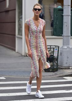 Summer style, karlie kloss style, dress with sneakers, white sneakers, 2 pi Tall Girl Outfits, 2 Piece Outfits, Mode Outfits, Karlie Kloss Style, Tall Women Fashion, Ladies Fashion, Womens Fashion, Dress With Sneakers, White Sneakers