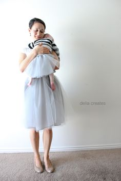 delia creates: Gray Day Tulle Skirts for adults and babies