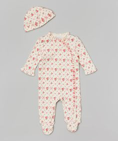 Look what I found on #zulily! Vintage Rose Ruffle Footie & Beanie - Infant by Quiltex #zulilyfinds