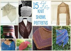 15 Free Knit Shawl Patterns: Perfect for summer, this collection of light and lacy #knitting patterns is just what you need.