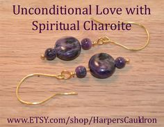 "Exotic Russian Charoite earrings - $13.  I infuse my hand-made jewelry with the intention to heal and empower, then cleanse and charge it especially for you.  Charoite is a gorgeous purple stone with a very high vibration. It is very calming and restful, and helps you connect to the spiritual realms. It encourages unconditional love, and helps put things in perspective.  A Charoite ""coin"" bead with two Charoite 3mm beads, on a Brass Headpin and Hand-Made (non-tarnish) Brass Fishhook…"