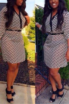 093fe57e7b9d1 Chevron Print V Neck Mini Dress - WHATWEARS Off Shoulder Tops