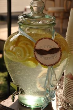 Wet your whiskers drink idea at a Mustache Themed Birthday party! www.KarasPartyIdeas.com