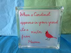 Glass block - When a Cardinal Appears