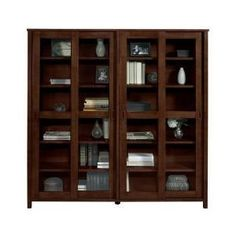 Mission-Style 12-Shelf Bookcase with 4 Sliding Doors - Glass Door Bookcases - Bookcases - Furniture   HomeDecorators.com