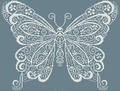 Butterfly cross stitch pattern, by Allessandra Adelaide, whitework. $12.50, via Etsy.