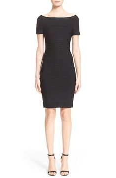Free shipping and returns on Herve Leger 'Carmen' Off the Shoulder Bandage Dress at Nordstrom.com. The embodiment of after-dark sophistication, this short-sleeve dress commands attention with a shoulder-baring neckline and densely knit paneled construction that highlights every curve.