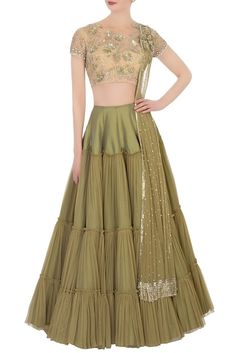 Buy Green lehenga & beige embroidered blouse with dupatta by Neeta Lulla at Aza Fashions Choli Dress, Lengha Choli, Silk Lehenga, Sharara, Sabyasachi, Anarkali, Indian Attire, Indian Wear, Indian Dresses