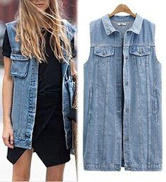 31fea08dd43 Hollywood Star Fashion Sleeveless Button Up Jean Denim Jacket Vest