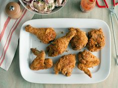 This is Paula Deen's Southern Fried Chicken Recipe. We love it, not spicey!