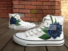 Women's roses hand painted shoes