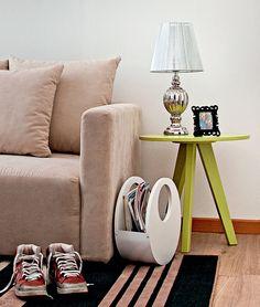 mesa lateral, redonda, verde