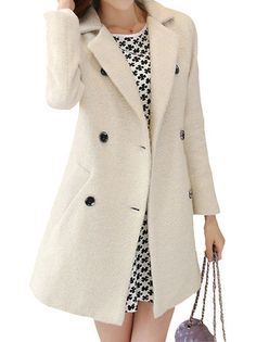Fashionable Turn-Down Full Sleeve Double Breasted Slim Woolen Women Causal Trench Coat on buytrends.com