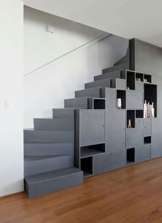 apartment decorating 5207355803502927 - Gallery of Apartement Vazio / AR Arquitetos – 7 Source by espritdesign Stair Shelves, Staircase Storage, Loft Stairs, House Stairs, Stairs With Storage, Shelving, Home Stairs Design, Interior Stairs, Interior Architecture