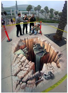 Awesome Street Art : 3D Optical illusion by Kurt Wenner