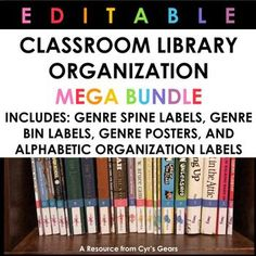 Classroom Library Organization MEGA BUNDLE by Cyr's Gears   TpT Literary Nonfiction, Traditional Literature, Genre Posters, Bin Labels, Library Organization, Realistic Fiction, Organizing Labels, Book Spine, 4th Grade Reading