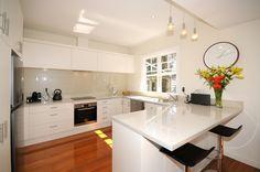 White kitchen, wooden floors St Albans, Wooden Flooring, Floors, Master Bedroom, Kitchen Design, Lounge, Dining, Interior, Home Decor