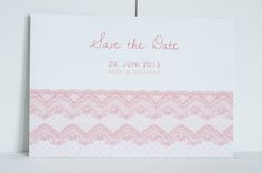 "60x Save-the-Date-Karte ""Lace"" in coral – vintage von Schneider's Family Business auf DaWanda.com"