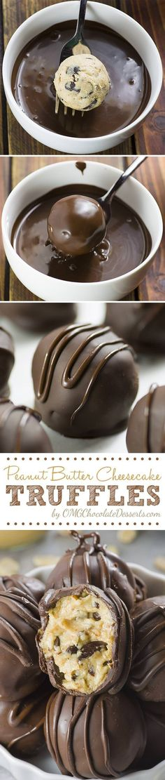 Peanut Butter Cheesecake Truffles are delicious bites of smooth peanut butter cheesecake loaded with chocolate chips, covered with a crunchy chocolate shell.