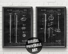 Items similar to Baseball Bat Patent Print Patent Prints, Printable Wall Art, Locker Storage, Greeting Cards, Printables, Digital, Unique Jewelry, Handmade Gifts, Baseball
