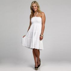 @Overstock - This fashionable swimwear coverup from Club Z features a flattering smocked bodice and halter top. A tiered skirt finishes this lightweight coverup.   http://www.overstock.com/Clothing-Shoes/Club-Z-Womens-White-Smocked-Strapless-Swimwear-Coverup/6626436/product.html?CID=214117 $19.99