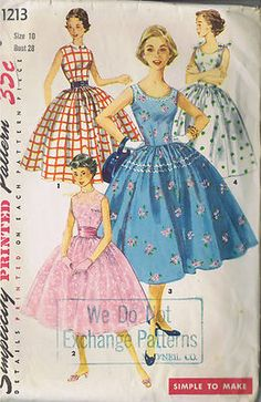 Vintage 50's Misses One Piece Dress Pattern    Simple to make fashion is sleeveless, features a variety of necklines and a gathered skirt.  Neckline may be high as in Views 1 and 2 or low and rounded as in views 3 and 4.  View 1 collar is contrasting.  Party version, View 2, may be made of lace.  Jumbo rick rack trims View 3.  Pert bows are tied at shoulders, View 4.