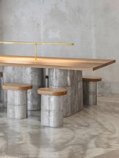 Seoul-based designer Jeonghwa Seo has constructed custom furniture to complement the raw concrete interior of Et Cetera, a cafe and wine bar. Wine Bar Furniture, Bar Furniture For Sale, Patio Furniture Sets, Cabinet Furniture, Design Furniture, Custom Furniture, Furniture Ideas, Vintage Furniture, Furniture Removal