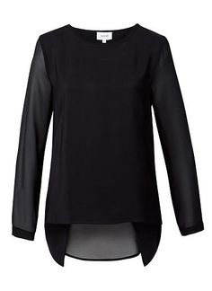 Viscose/Polyester/Elastane Sheer Woven Back Top. Comfortable fitting style features a scoop neck,front bust darts, long sleeves and open back with dipped hem. Available in Black as shown. Seed Heritage, Tee Shirts, Tees, Scoop Neck, Darts, Long Sleeve, Sleeves, Mood, Outfits