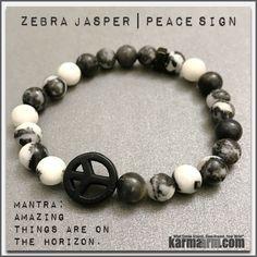 INNER PEACE: Zebra Jasper   Peace Sign Yoga Mala Beaded Bracelet
