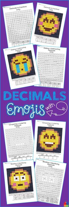 These Emoji decimal activities are the perfect printables for a math center, whole group / early finisher assignment or even homework! Students will have a blast while reading and identifying, comparing and ordering, adding and subtracting, and converting Math Worksheets, Math Resources, Math Activities, Fraction Activities, Math Games, Math Stations, Math Centers, Fraction Word Problems, Sixth Grade Math