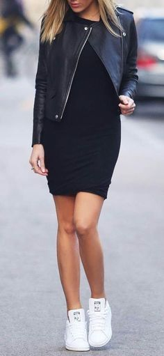 casual style addict / leather jacket + dress + white sneakers