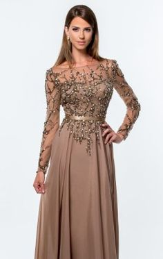 Beaded Full Sleeved Gown by Terani Couture Evening 151M0361