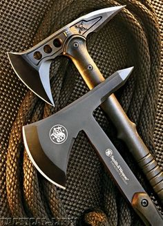 United Cutlery M48 Hawk (top) and Smith & Wesson SW671 Tomahawk (bottom).
