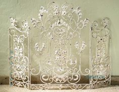 French Country Scroll Floral Antique White Cottage Shabby Chic Fireplace Screen