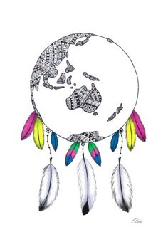 Colourful World Globe Dream Catcher Print  #dreamcatcher #worldglobe #feathers