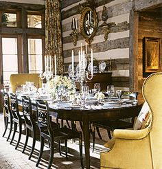 suzanne kasler, designer...love the snap of contemporary yellow against the old chinking...