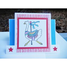 Goose Card Handmade Carousel Card Merry-Go-Round Card, Any Occasion... (395 ISK) ❤ liked on Polyvore featuring home, home decor and stationery