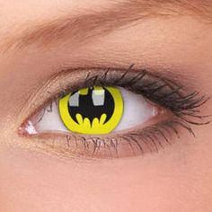 Batman Symbol Contacts, eh? Yeah, these are a MUST HAVE for true Batman fans. Even your eyes show your adoration for the Dark Knight!