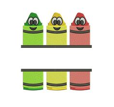Cute School Design Color Smiling Markers Split by EmbroideryMonkey