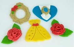 Beauty and The Beast Fondant Cupcake Toppers  Cake Topper