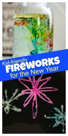 Fireworks for the New Year! Kid friendly &  in a jar. So cool! They'll love making these.